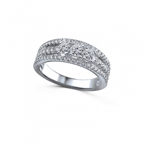 3 row with 3 diamond dancing light ring