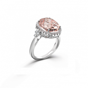 oval-morganite halo ring 3 stones