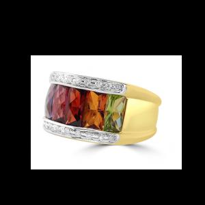 Broad Rainbow & Pave Diamond Ring