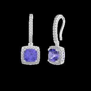 Tanzanite Halo Diamond Drop Earrings