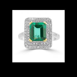 Emerald & Diamond Halo Pave Ring