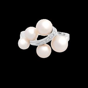 Freshwater Pearl & Diamond Vine Style Ring