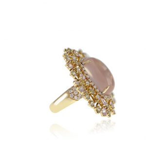 Oval Rose Quartz, Sapphire & Diamond Ring