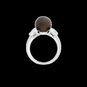 Round Dyed Black Freshwater Pearl & Diamond Ring