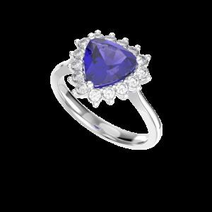 Trilliant Tanzanite & Diamond Ring