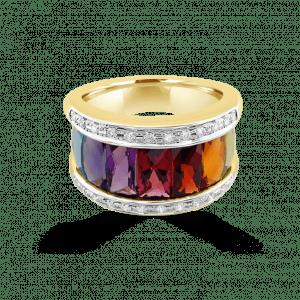 Broad Rainbow & Pave Diamond Ring- Rainbow Collection