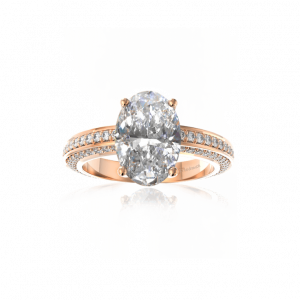 oval and pave diamond engagement ring