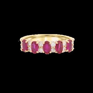 Oval Ruby & Diamond Eternity Ring-Gemstone.