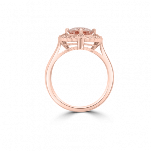 Oval Morganite & Diamond Halo Basket Ring