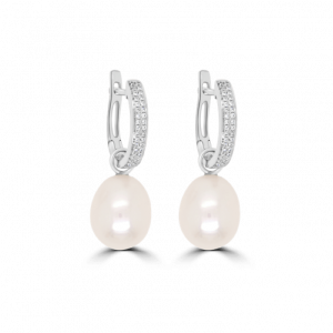 Diamond Huggie Pearl Earrings