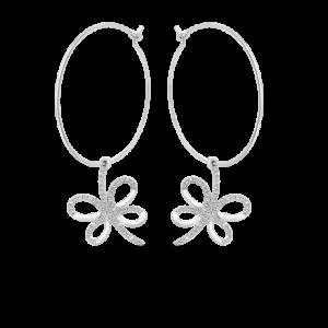 Diamond Flutter Branch Hoop Earrings