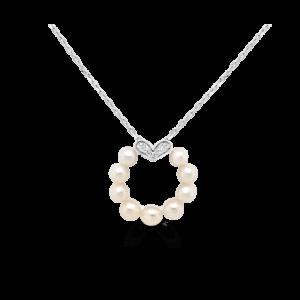 Pearl Circle Heart Pendant