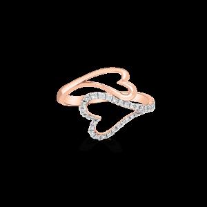 Two Hearts Diamond Ring