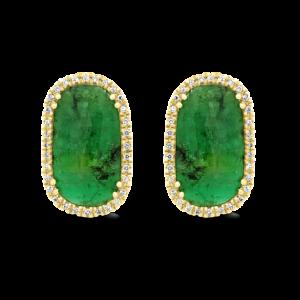 Emerald Slice & Diamond Stud Earrings