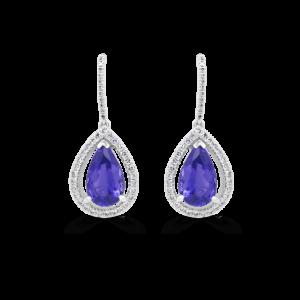 Pear Tanzanite & Diamond Halo Drop Earrings