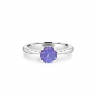 Large Round Tanzanite Solitaire Ring