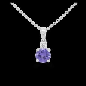 Round Tanzanite & Diamond Pendant