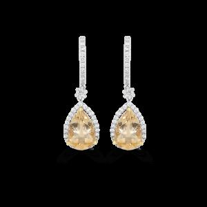 Pear Yellow Beryl & Diamond Halo Earrings