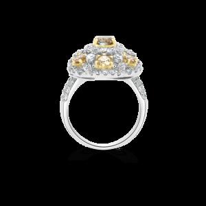 Fancy Yellow & Cognac Diamond Flower Ring Diamond Jewellery