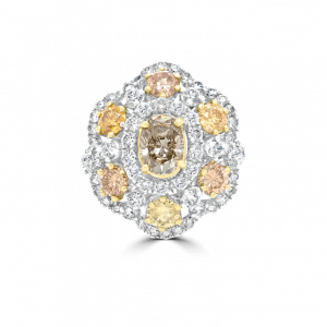 Top View Fancy Yellow & Cognac Diamond Flower Ring