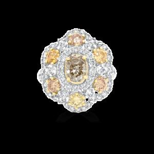 Top View Fancy Yellow & Cognac Diamond Flower Ring