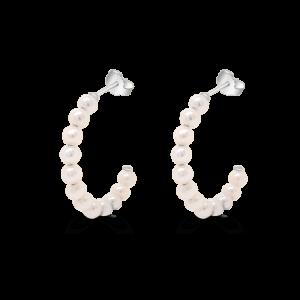 Half Pearl Hoop Earrings