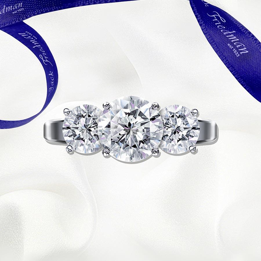 jack friedman the three stone la mer trilogy diamond engagement ring